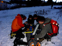 Group working on OEC in the snow.